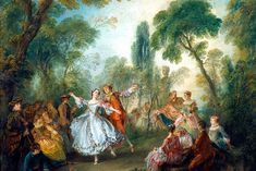 Nicolas Lancret's La Camargo Dancing, c. Marie-Anne de Cupis de Camargo was a ballet star of the Paris Opéra. Here she is depicted at a fête galante party in a luxuriously overgrown garden. Rococo Painting, Victorian Paintings, French Paintings, National Gallery Of Art, Francisco Goya, Jean Antoine Watteau, Rembrandt Paintings, Couple Painting, Figure Painting