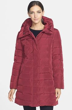 Gallery Ruched Collar Quilted Walking Coat (Regular & Petite) (Online Only) available at #Nordstrom