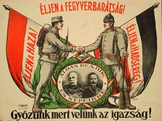 Kingdom of Hungary, Austro-Hungarian Empire, WWI. Poster shows Austro-Hungarian alliance. Austro Hungarian, World War One, Illustrations And Posters, Wwi, Hungary, Budapest, Vintage Posters, Empire, War