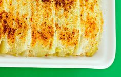 Cheese-filled leek cannelloni (replace breadcrumbs with italian spiced crushed nuts)
