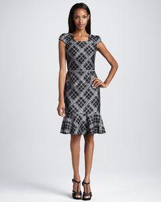 Plaid Cap-Sleeve Dress - Neiman Marcus