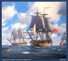 Bellona and Courageux Coming Home  Spithead 1761  #p-tall_ships063.jpg Photo:  This Photo was uploaded by inuitsea. Find other p-tall_ships063.jpg pictures and photos or upload your own with Photobucket f...