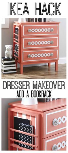 Easy IKEA hack!  Transform an IKEA dresser by adding a book rack on the side with simply glue!  thistlewoodfarms.com