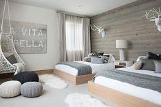 Bedroom Design: Scandinavian bedroom with wooden accent wall and p. Scandinavian Bedroom Decor, Scandinavian Interior Design, Scandinavian Home, Home Interior, Modern Interior, Nordic Bedroom, Nordic Design, Nordic Style, Urban Design