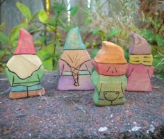 Wooden Gnome Family Toy Doll Set