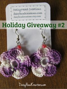 Holiday Celebration Giveaway #2 (out of 6 giveaways this week!) These purple pansy crochet earrings are lovely and perfect for Christmas gift giving!