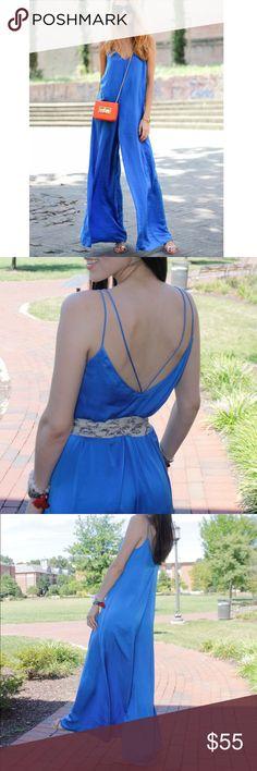 Zara blue silk jumpsuit Like new. Worn it once. $30 on ♏️ercari‼️ Zara Dresses Maxi