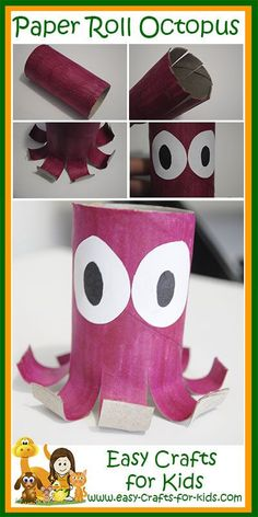Mke this fabulous ocean craft of a toilet paper roll octopus! This is a very simple paper craft for school age kids! Paper Animal Crafts, Animal Crafts For Kids, Toddler Crafts, Preschool Crafts, Art For Kids, Preschool Ideas, Toilet Roll Craft, Toilet Paper Roll Crafts, Paper Crafts For Kids
