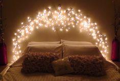 Room decor fairy lights bedroom lighting ideas for better sleep beautiful fairy lights for bedroom headboard . Bedroom Decor Lights, String Lights In The Bedroom, Room Lights, Bedroom Lighting, Diy Room Decor, Home Decor, Light Bedroom, Icicle Lights Bedroom, Christmas Lights Bedroom