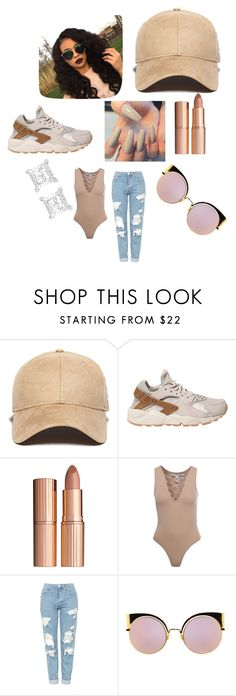 """""""Nude Flow👌🏽😜"""" by jazmineanderson575 ❤ liked on Polyvore featuring New Era, NIKE, Charlotte Tilbury, NLY Trend, Topshop and Fendi"""