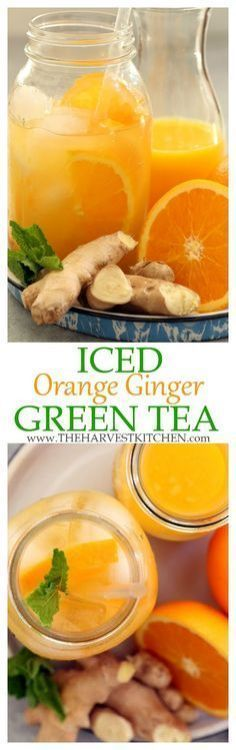 Get a little pick-me-up with Iced Ginger Green Tea. Its rich in antioxidants and detoxifying benefits that give a boost to your immune system. | detox drinks | | detox recipes | | fruit flavored green tea | | iced tea recipes | | clean eating | | healthy recipes | #DetoxDrinksGreenTea