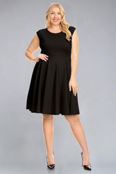 eb3ddecfd40 Plus size solid sleeveless midi length fit  amp  flare dress with round neck  and pleat