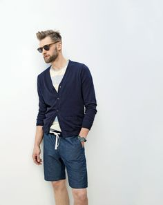 J.Crew men's cotton-cashmere cardigan, chambray sideline short, Han Kjøbenhavn timeless sunglasses and camo watch.