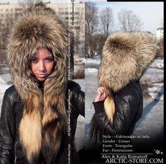 Eskimoska full fur hat with tails, finn ranched raccoon arktika arctic store