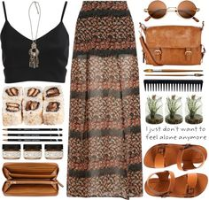A fashion look from October 2013 featuring bralet tops, chiffon maxi skirt and leather shoes. Browse and shop related looks. Hippie Style, Looks Hippie, Bohemian Mode, Bohemian Style, Boho Chic, Fashion Mode, Look Fashion, Earthy Fashion, Fashion Design