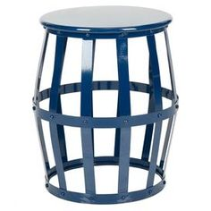 """Add an eye-catching touch to your breakfast nook or living room seating group with this openwork iron stool, showcasing a navy finish and barrel-inspired design.   Product: StoolConstruction Material: IronColor: NavyFeatures:  Made in India Dimensions: 19"""" H x 15.7"""" Diameter, 8.4 lbs"""