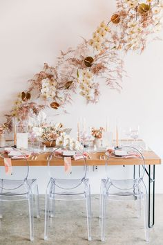 Modern tablescape with fall foliage
