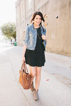 The Art of Casual | KE///// denim jacket, black and white polka dotted dress, beige booties