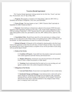 Free Vacation (Short Term) Rental Lease Agreement - Word ...