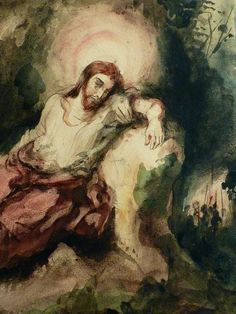 "DELACROIX Eugène,1826 - Le Christ au Jardin des Oliviers, Eglise St-Paul-St-Louis, Paris, Etude (drawing, dessin, disegno-Louvre RF23325) - Detail 07  -  TAGS/ art painters peintres details détail détails painting paintings peintures ""peintures 19e"" ""19th-century painting"" France ""Christ in the Garden of Gethsemane"" woman women femme man men homme romantisme romanticism nu nude naked nudity nudité anges angel armes weapons soldats soldiers nuit night Aquarelle watercolour watercolor"