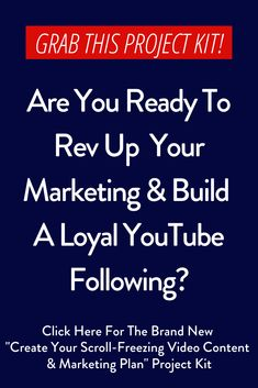 "Click here for my brand new ""Create Your Scroll-Freezing Video Content & Marketing Plan"" project kit. This plan will show you how to create a strong presence and vibrant channel on YouTube, packed with videos that people want to watch – not scroll past. If you want results, you need a video that creates an impact and builds a raving audience. #projecttemplateplanner #projecttemplate #projectplanningbusiness #projecttemplateprintables   #projecttemplatesbusiness"