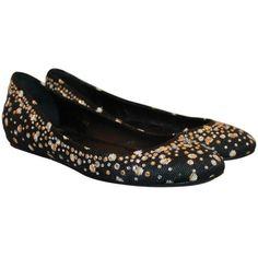 Preowned Valentino Black Raffia Ballerina Style Flats W/ Rhinestones -... ($275) ❤ liked on Polyvore featuring shoes, flats, black, flat pumps, black shoes, ballerina flat shoes, valentino shoes and ballet flat shoes