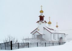 Weathering the whiteout in Bethel, Alaska....the Russian Orthodox Church. Photo by Jojo Prince 2-26-13.