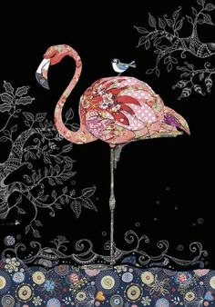 Bug Art - Pink Flamingo - designed by Jane Crowther Flamingo Art, Pink Flamingos, Applique Patterns, Applique Quilts, Hallmark Greeting Cards, Art Carte, Bug Art, Animal Quilts, Pink Feathers