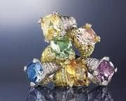 My favorite jewelry designer Judith Ripka!  I have this ring in blue and love it!