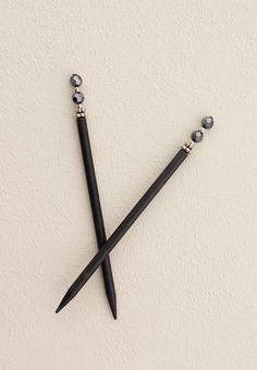 "Hair Sticks with glittering hematite beads - Includes two 5"" black sticks Simply Charming Shop LillaRose for accessories for all types of hair & lengths! Hair clips, hair band, hair pins & more! Shop and/or become a consultant! Enjoy! www.lillarose.biz/SimplyCharming"