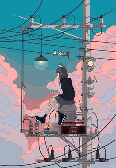 トーコ Toko on Art Anime, Anime Kunst, Cartoon Kunst, Cartoon Art, Pretty Art, Cute Art, Aesthetic Art, Aesthetic Anime, Bel Art