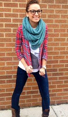 97 Plaid Shirt Over Graphic Tee With Chunky Infiniti Scarf - Fall Outfits - Anita Fashion Designer Clothes