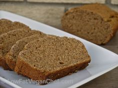 FAT FREE VEGAN BANANA BREAD: 1 1/2 cups overripe mashed bananas (about 3 large, 4 medium) 1/3 cup almond milk 1/2 cup maple syrup (or 1/4-1/3 cup honey or agave because it's sweeter) 1 tsp apple cider vinegar 1 tsp vanilla extract 2 cups whole wheat flour (or other whole grain, or gluten free) 3/4 tsp baking soda 1/2 tsp salt 2 tsp ceylon cinnamon 1/4 tsp nutmeg