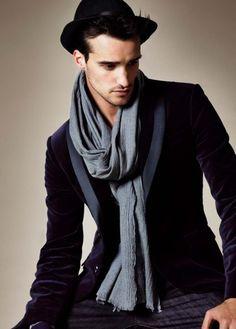 hat, scarf and blazer