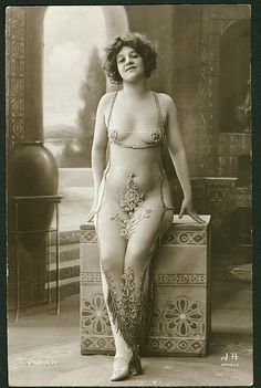 vintage postcards of soiled doves | Vintage Edwardian risque postcard of an exotic dancer