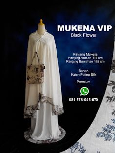 Mekena Vip Black Flower - Grosir Pesan Mukena katun jepang santung bordir batik bali murah anak