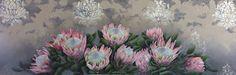 Christelle Pretorius Art, oil on canvas, light pink king proteas. 150x50cm. www.christellepretoriusart.co.za