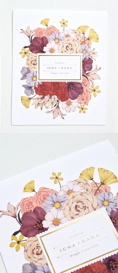 A flowery wedding invitation for Risya Dwi Prasanty.