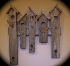 RUSTIC COAT HAT RACK RECLAIMED WOOD BIRD HOUSE DESIGN ENTRY WALL DECOR HANDMADE