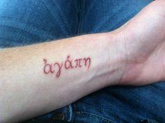 Henna colored agape wrist tattoo