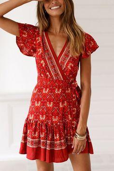 fbbb39ca5f6 Women Red Floral Print V Neck Wrap Ruffles Hem Sexy Boho Dress - Red Short  Sleeve