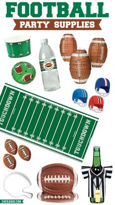 Football party supplies - fun decorations for a tailgate, game day party, the Super Bowl, or a football theme birthday party!