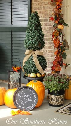 Southern Fall Porch with Our Southern Home. Loaded with many great ideas!!!!!