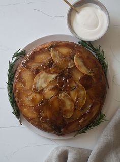 Savory cake? Delicious :: Apple Rosemary Upside Down Cake recipe
