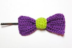 Crochet Bow / Purple Bow / Girl's Hair Pin / by CatWomanCrafts