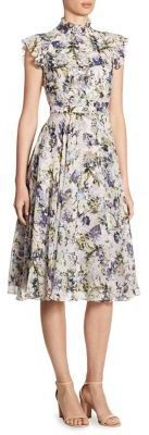 I like the colors and floral pattern of this dress. Also like the length of the dress. This would be good for church or a wedding.