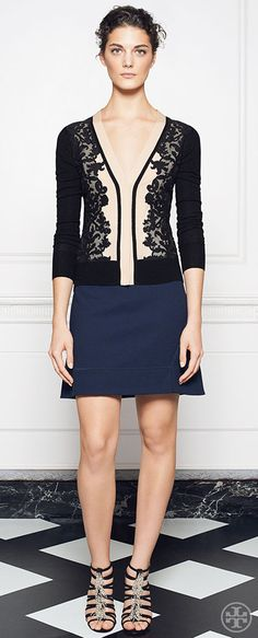 With its panels of swirly hand-cut floral lace, our Dixie cardigan is the picture of sheer refinement   Tory Burch Holiday 2014