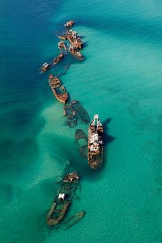 Aerial of the Tangalooma Wrecks in Moreton Bay near Brisbane, Australia