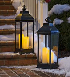 """A tall 14-20"""" outdoor lantern like this one... Candles not necessary."""