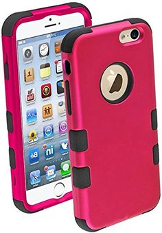 "myLife Ruby Pink and Black {Bright Dual-color Design} Neo Hybrid Armor Case for the NEW iPhone 6 (6G) 6th Generation Phone by Apple, 4.7"" Screen Version (Two External Snap On Hard Protector Plates + Full Body Internal Soft Silicone Bumper Gel Protection) myLife Brand Products http://www.amazon.com/dp/B00NI2CKTG/ref=cm_sw_r_pi_dp_Rdepub15W9NTQ"